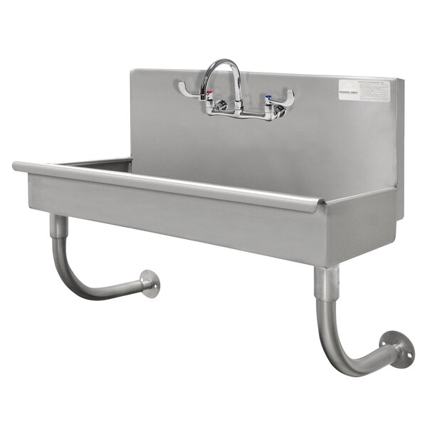 """Advance Tabco 19-18-1-ADA-F 16-Gauge Stainless Steel ADA Service Sink with 5"""" Deep Bowl and 1 Manual Faucet - 40"""" x 19 1/2"""" Main Image 1"""