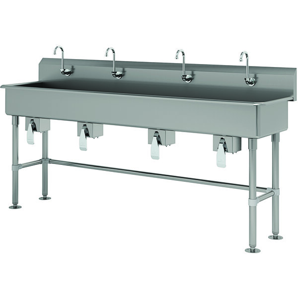 """Advance Tabco FS-FM-80KV 14-Gauge Stainless Steel Multi-Station Hand Sink with Tubular Legs, 8"""" Deep Bowl, and 4 Knee-Operated Faucets - 80"""" x 19 1/2"""" Main Image 1"""