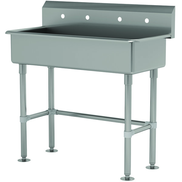 """Advance Tabco FS-FM-40 14-Gauge Stainless Steel Multi-Station Hand Sink with Tubular Legs and 8"""" Deep Bowl for 2 Faucets - 40"""" x 19 1/2"""" Main Image 1"""