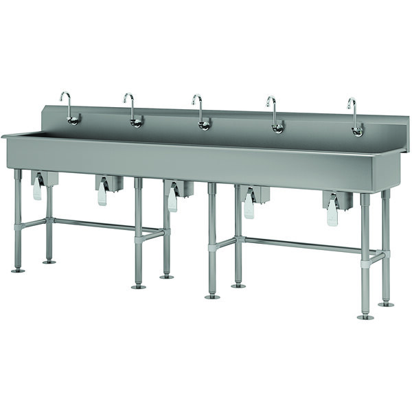 """Advance Tabco FS-FM-100KV 14-Gauge Stainless Steel Multi-Station Hand Sink with Tubular Legs, 8"""" Deep Bowl, and 5 Knee-Operated Faucets - 100"""" x 19 1/2"""" Main Image 1"""