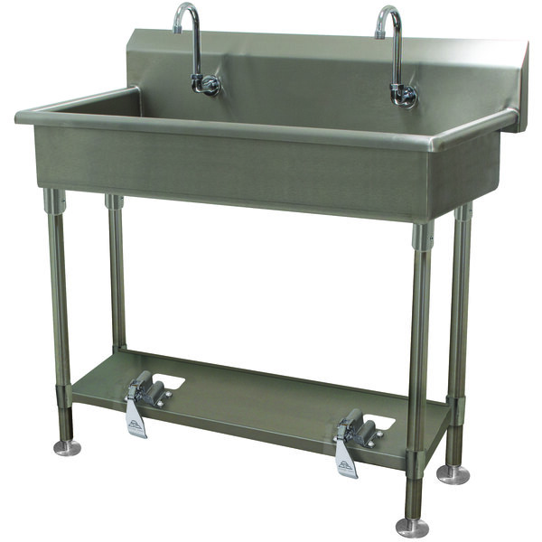 "Advance Tabco FS-FM-40FV 14-Gauge Stainless Steel Multi-Station Hand Sink with Tubular Legs, 8"" Deep Bowl, and 2 Toe-Operated Faucets - 40"" x 19 1/2"" Main Image 1"