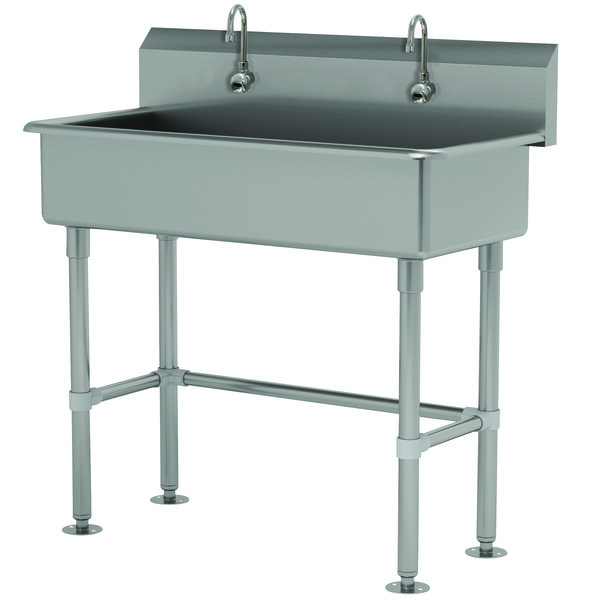"Advance Tabco FS-FM-40EF 14-Gauge Stainless Steel Multi-Station Hand Sink with Tubular Legs, 8"" Deep Bowl, and 2 Electronic Faucets - 40"" x 19 1/2"" Main Image 1"