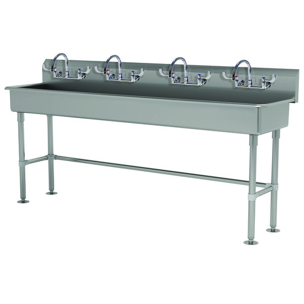 """Advance Tabco FS-FM-80-ADA-F 14-Gauge Stainless Steel ADA Multi-Station Hand Sink with Tubular Legs, 8"""" Deep Bowl, and 4 Manual Faucets - 80"""" x 19 1/2"""" Main Image 1"""