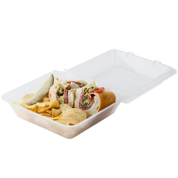 """GET EC-02 9"""" x 9"""" x 3 1/2"""" Clear Reusable Eco-Takeouts Container - 12/Pack"""