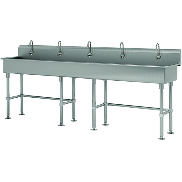 """Advance Tabco FS-FM-100EF 14-Gauge Stainless Steel Multi-Station Hand Sink with Tubular Legs, 8"""" Deep Bowl, and 5 Electronic Faucets - 100"""" x 19 1/2"""" Main Image 1"""