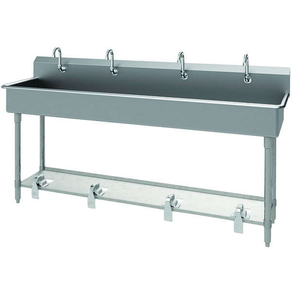 """Advance Tabco FS-FM-80FV 14-Gauge Stainless Steel Multi-Station Hand Sink with Tubular Legs, 8"""" Deep Bowl, and 4 Toe-Operated Faucets - 80"""" x 19 1/2"""" Main Image 1"""