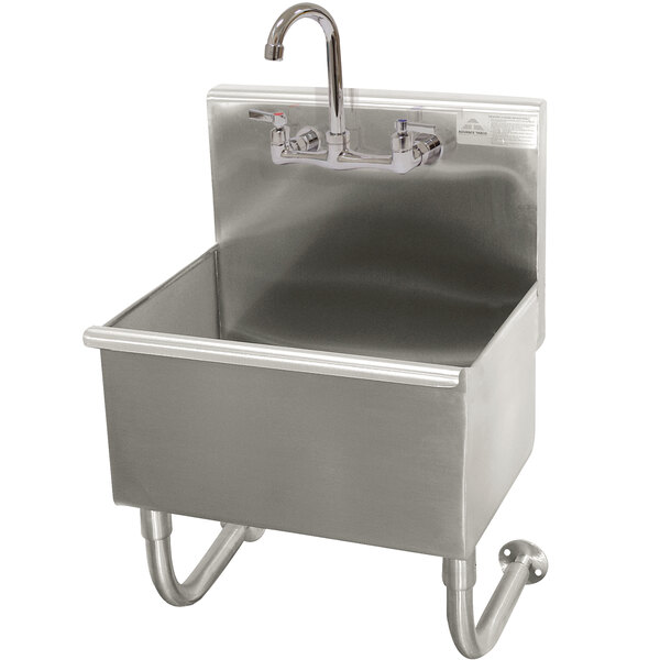 """Advance Tabco WSS-14-21-F 16-Gauge Stainless Steel Service Sink with 12"""" Deep Bowl and 1 Manual Faucet - 18"""" x 17 1/2"""" Main Image 1"""