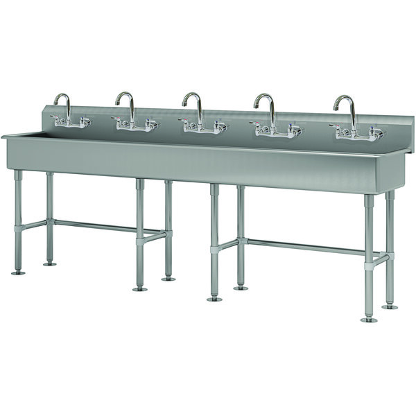 """Advance Tabco FS-FM-100-F 14-Gauge Stainless Steel Multi-Station Hand Sink with Tubular Legs, 8"""" Deep Bowl, and 5 Manual Faucets - 100"""" x 19 1/2"""" Main Image 1"""