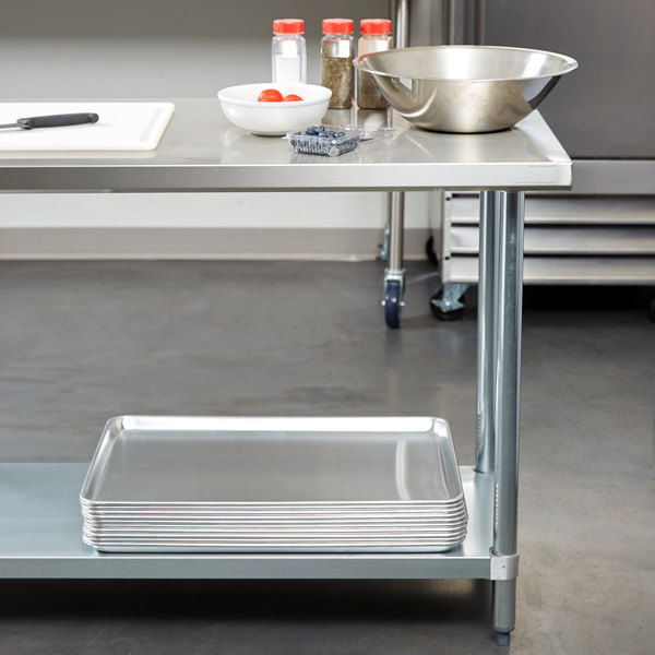 """Regency 30"""" x 48"""" 18-Gauge 304 Stainless Steel Commercial Work Table with Galvanized Legs and Undershelf Main Image 2"""