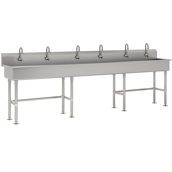 """Advance Tabco FS-FM-120EF 14-Gauge Stainless Steel Multi-Station Hand Sink with Tubular Legs, 8"""" Deep Bowl, and 6 Electronic Faucets - 120"""" x 19 1/2"""" Main Image 1"""