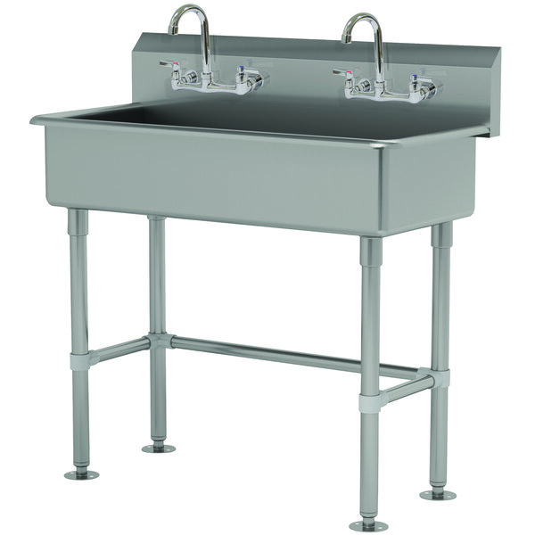 """Advance Tabco FS-FM-40-F 14-Gauge Stainless Steel Multi-Station Hand Sink with Tubular Legs, 8"""" Deep Bowl, and 2 Manual Faucets - 40"""" x 19 1/2"""" Main Image 1"""