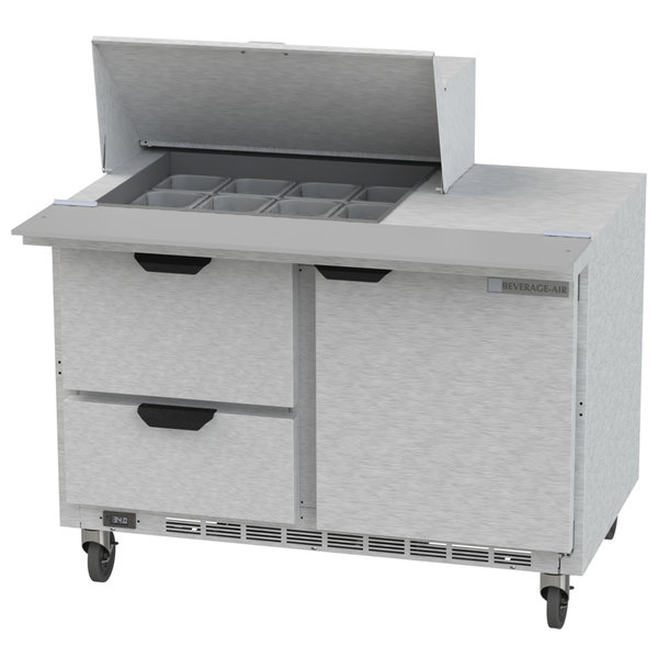 "Beverage Air SPED48HC-12M-2 48"" 1 Door 2 Drawer Mega Top Refrigerated Sandwich Prep Table"
