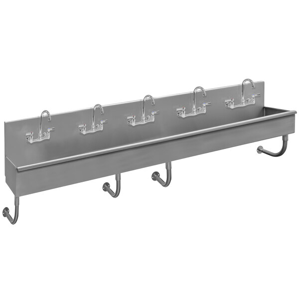 """Advance Tabco 19-18-100-F 16-Gauge Stainless Steel Multi-Station Hand Sink with 5"""" Deep Bowl and 5 Manual Faucets - 100"""" x 19 1/2"""" Main Image 1"""