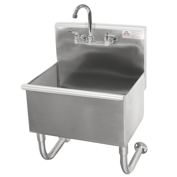 """Advance Tabco 19-18-23-F 16-Gauge Stainless Steel Service Sink with 8"""" Deep Bowl and 1 Manual Faucet - 23"""" x 19 1/2"""" Main Image 1"""