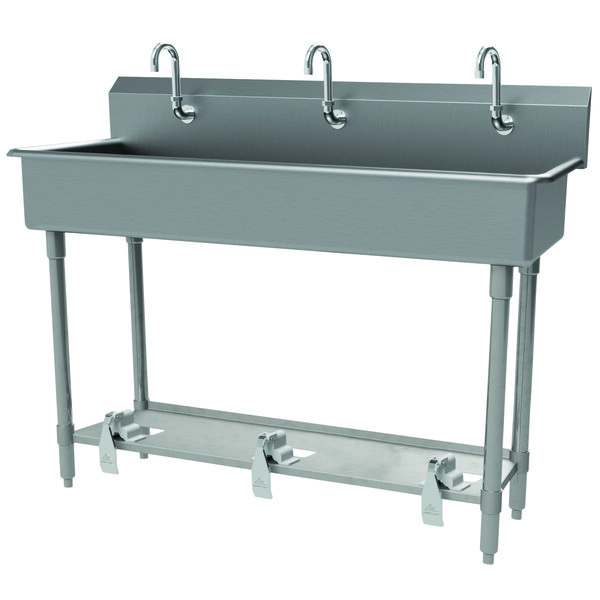 """Advance Tabco FS-FM-60FV 14-Gauge Stainless Steel Multi-Station Hand Sink with Tubular Legs, 8"""" Deep Bowl, and 3 Toe-Operated Faucets - 60"""" x 19 1/2"""" Main Image 1"""
