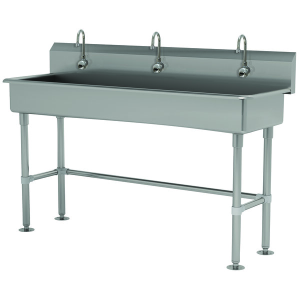 """Advance Tabco FS-FM-60EF 14-Gauge Stainless Steel Multi-Station Hand Sink with Tubular Legs, 8"""" Deep Bowl, and 3 Electronic Faucets - 60"""" x 19 1/2"""" Main Image 1"""