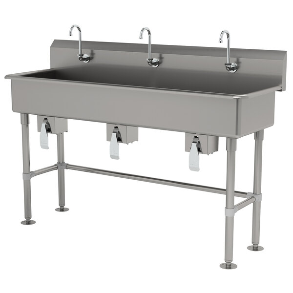 """Advance Tabco FS-FM-60KV 14-Gauge Stainless Steel Multi-Station Hand Sink with Tubular Legs, 8"""" Deep Bowl, and 3 Knee-Operated Faucets - 60"""" x 19 1/2"""" Main Image 1"""