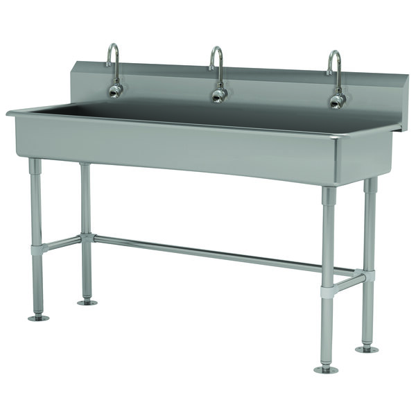 """Advance Tabco FS-FM-60EFADA 14-Gauge Stainless Steel ADA Multi-Station Hand Sink with Tubular Legs, 8"""" Deep Bowl, and 3 Electronic Faucets - 60"""" x 19 1/2"""" Main Image 1"""
