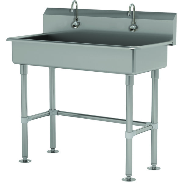 "Advance Tabco FS-FM-40EFADA 14-Gauge Stainless Steel ADA Multi-Station Hand Sink with Tubular Legs, 8"" Deep Bowl, and 2 Electronic Faucets - 40"" x 19 1/2"" Main Image 1"