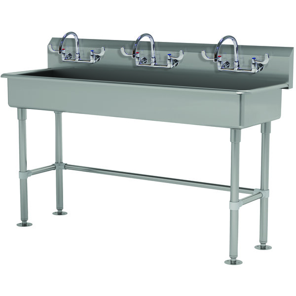 """Advance Tabco FS-FM-60-ADA-F 14-Gauge Stainless Steel ADA Multi-Station Hand Sink with Tubular Legs, 8"""" Deep Bowl, and 3 Manual Faucets - 60"""" x 19 1/2"""" Main Image 1"""