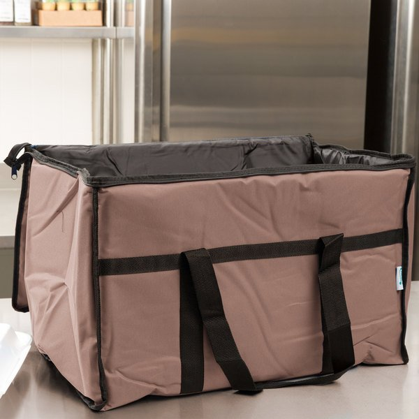 "Choice Insulated Food Delivery Bag / Pan Carrier, Brown Nylon, 23"" x 13"" x 15"""
