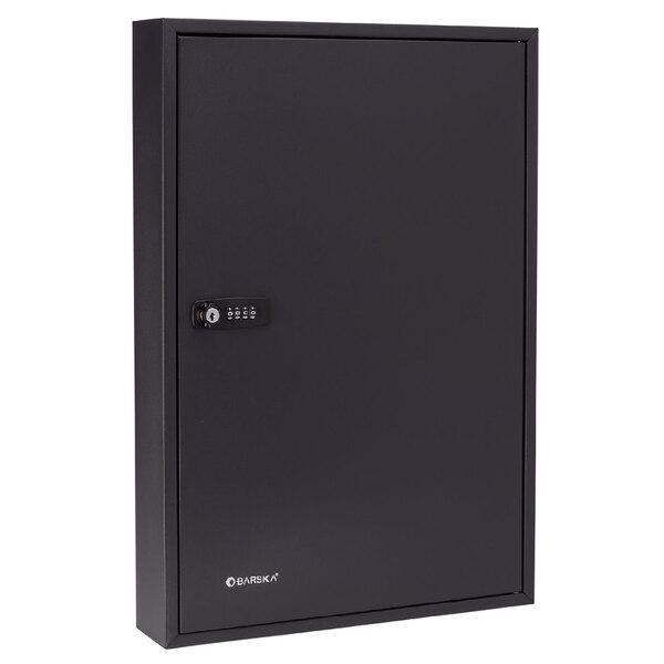 "Barska CB13366 14 3/4"" x 3"" x 21 3/4"" Black Steel 100-Key Cabinet with Combination Lock, Key Lock, and Index Main Image 1"