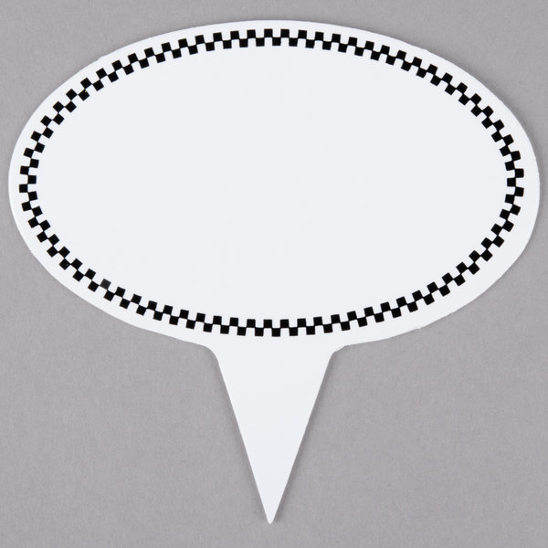 Oval Write-On Deli Sign Spear with Black Checkered Border - 25/Pack