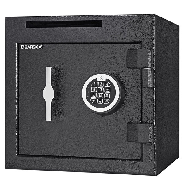 "Barska AX13314 14"" x 14"" x 14"" Black Steel Compact Check Slot Depository Safe with Digital Keypad and Key Lock - 1.12 Cu. Ft. Main Image 1"