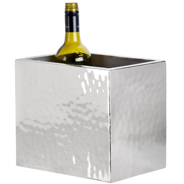 American Metalcraft DWWC2 Rectangle Double Wall Hammered Stainless Steel Two-Bottle Chiller