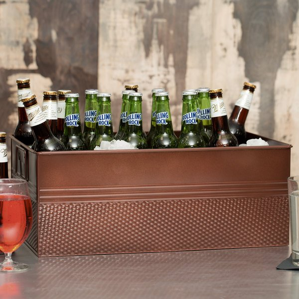 "American Metalcraft BEV1220 Full Size Copper Rectangular Hammered Beverage Tub - 20 1/2"" x 12 1/2"" x 8"" Main Image 3"