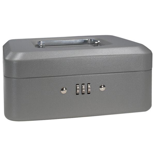 "Barska CB11784 8"" x 6 5/16"" x 3 1/2"" Small Gray Steel Cash Box with Combination Lock and Handle Main Image 1"
