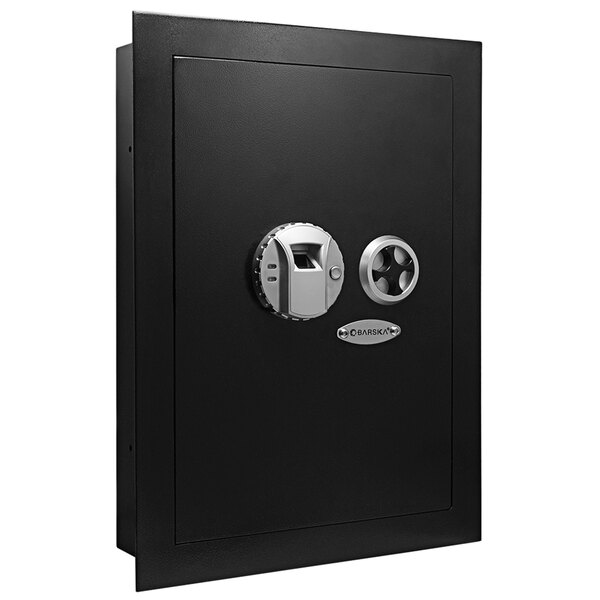 "Barska AX13034 15 3/8"" x 3 3/4"" x 20 3/4"" Black Steel Recessed Wall-Mount Left-Opening Biometric Security Safe with Fingerprint Scanner and Key Lock - 0.52 Cu. Ft. Main Image 1"