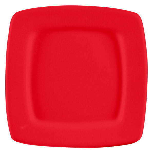 "CAC R-S8QR Clinton Color 8 7/8"" Red Square in Square Plate - 24/Case"