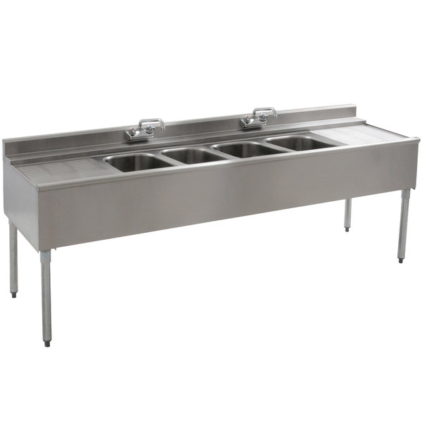 """Eagle Group B7C-4-22 Underbar Sink with Four Compartments, Two Drainboards, and Two Faucets - 84"""""""
