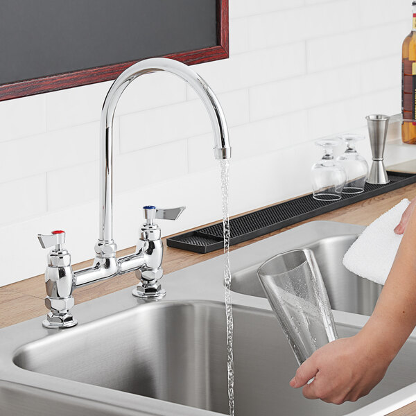 """Waterloo FD88G Deck-Mounted Faucet with 8"""" Centers and 8"""" Swivel Gooseneck Spout Main Image 3"""