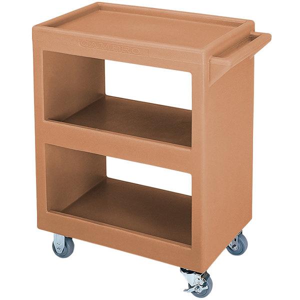 "Cambro BC2304S157 Coffee Beige Three Shelf Service Cart - 33 1/4"" x 20"" x 34 5/8"" Main Image 1"