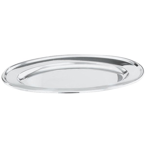 """Vollrath 47234 Mirror-Finished Stainless Steel Oval Platter - 13 3/4"""" x 9"""" Main Image 1"""