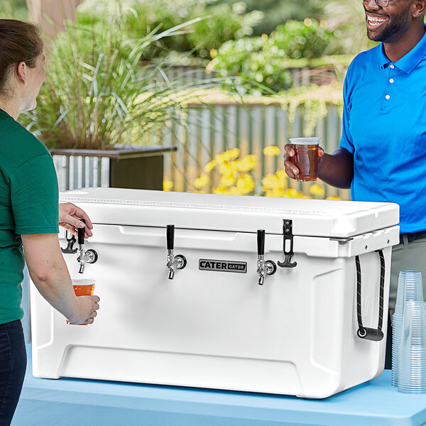 CaterGator JB100WH White 3 Faucet 106 Qt. Insulated Jockey Box with 120 ft. Coils Main Image 5
