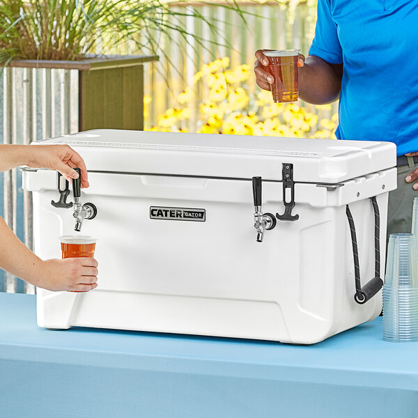 CaterGator JB65WH White 2 Faucet 68 Qt. Insulated Jockey Box with 120 ft. Coils Main Image 5