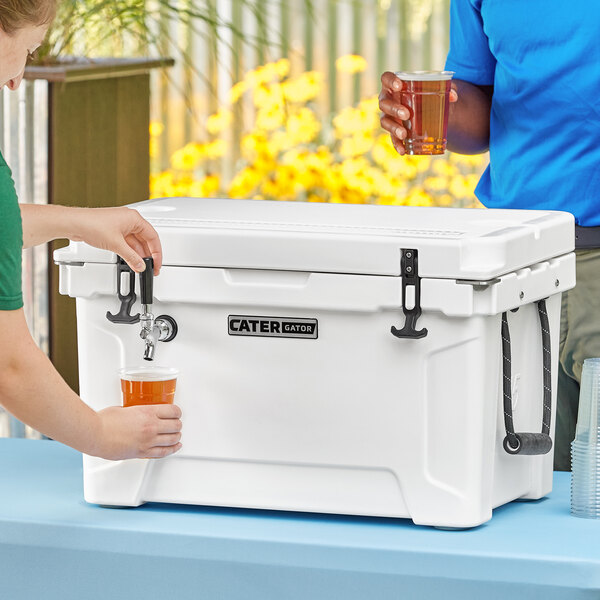 CaterGator JB45WH White 1 Faucet 47 Qt. Insulated Jockey Box with 120 ft. Coil Main Image 5