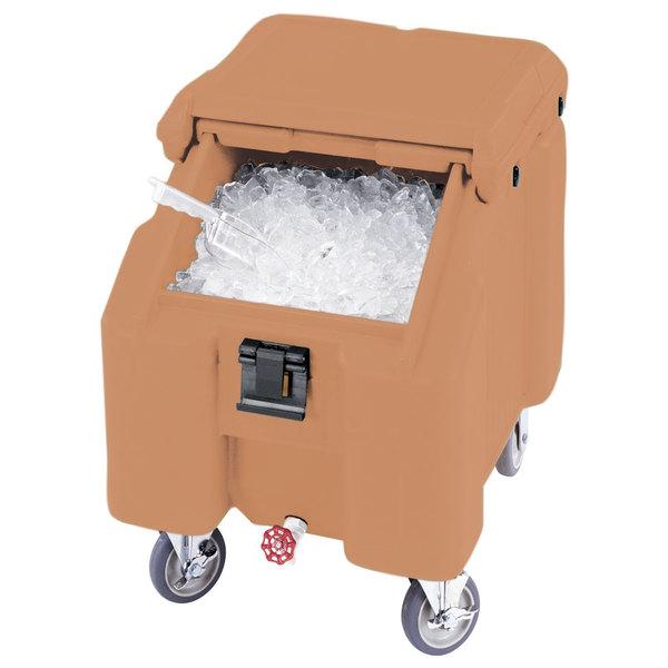 Cambro ICS100L157 SlidingLid™ Coffee Beige Portable Ice Bin - 100 lb. Capacity