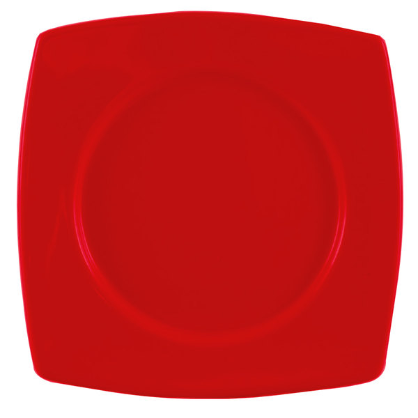 "CAC R-SQ21R Clinton Color 11 7/8"" Red Round in Square Plate - 12/Case"
