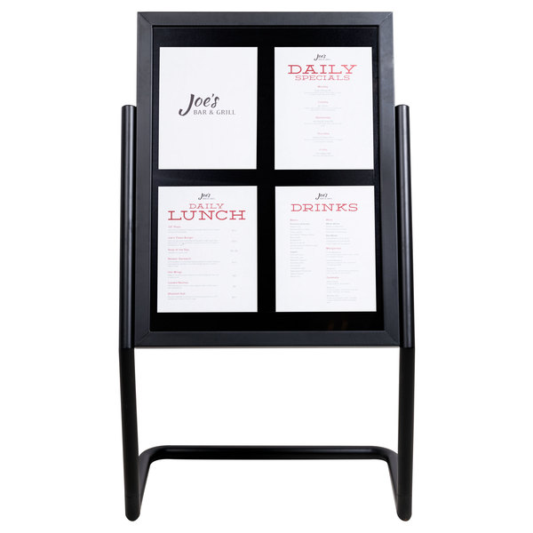 "Aarco P-15BK Black 25"" x 48"" Double Pedestal Poster Stand"