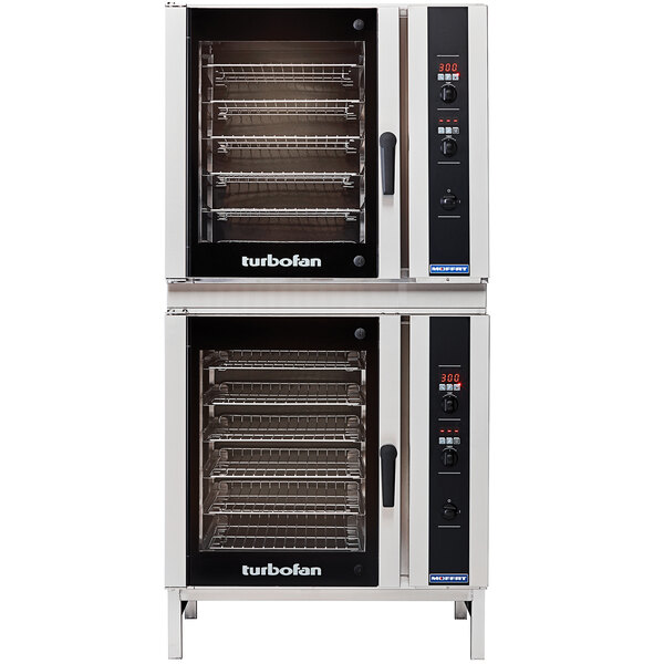 Moffat E35D6-26/2 Turbofan Double Deck Full Size Electric Convection Oven with Digital Controls and Stainless Steel Stand - 208V, 1 Phase, 22.4 kW Main Image 1