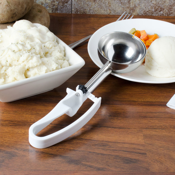Vollrath 47370 White #6 Extended Length Squeeze Disher Portion Scoop - 4.7 oz.
