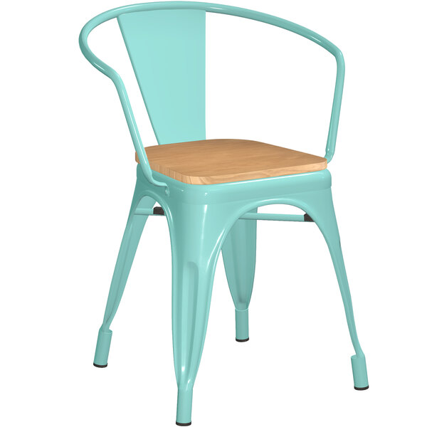 Lancaster Table & Seating Alloy Series Seafoam Metal Indoor Industrial Cafe Arm Chair with Natural Wooden Seat Main Image 1