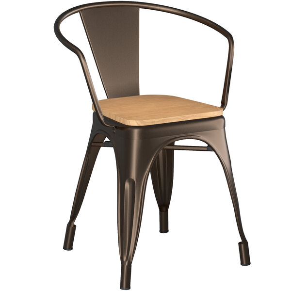 Lancaster Table & Seating Alloy Series Copper Metal Indoor Industrial Cafe Arm Chair with Natural Wooden Seat Main Image 1