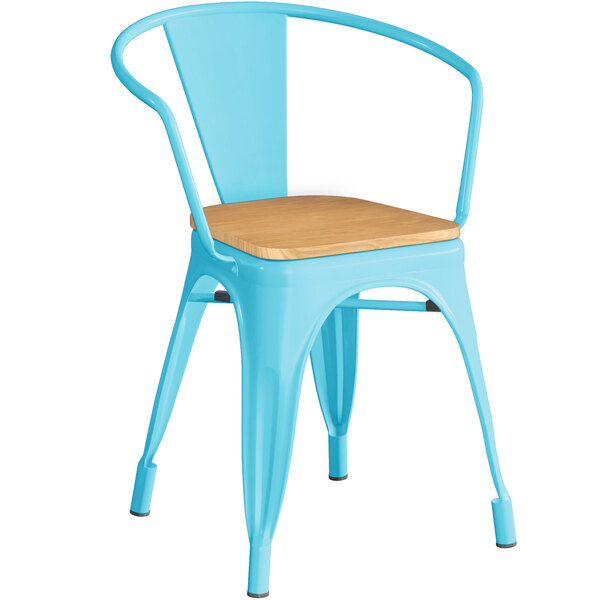 Lancaster Table & Seating Alloy Series Arctic Blue Metal Indoor Industrial Cafe Arm Chair with Vertical Slat Back and Natural Wood Seat Main Image 1