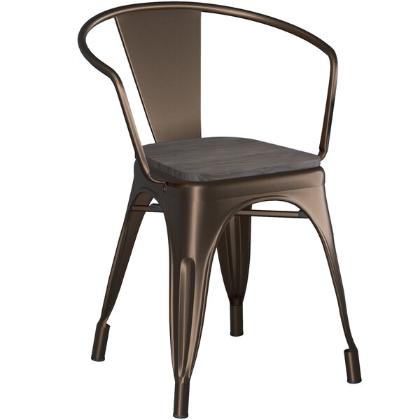 Lancaster Table & Seating Alloy Series Copper Metal Indoor Industrial Cafe Arm Chair with Black Wooden Seat Main Image 1