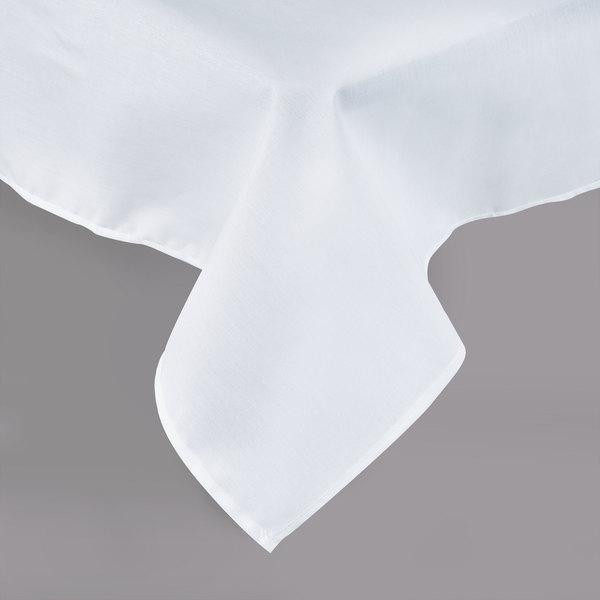 "54"" x 96"" White Hemmed Polyspun Cloth Table Cover"